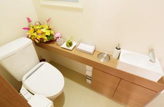 バリアフリーの清潔感のあるお手洗い